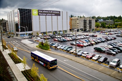 aerial view of park and ride lot