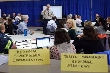 table signs at emergency exercise meeting