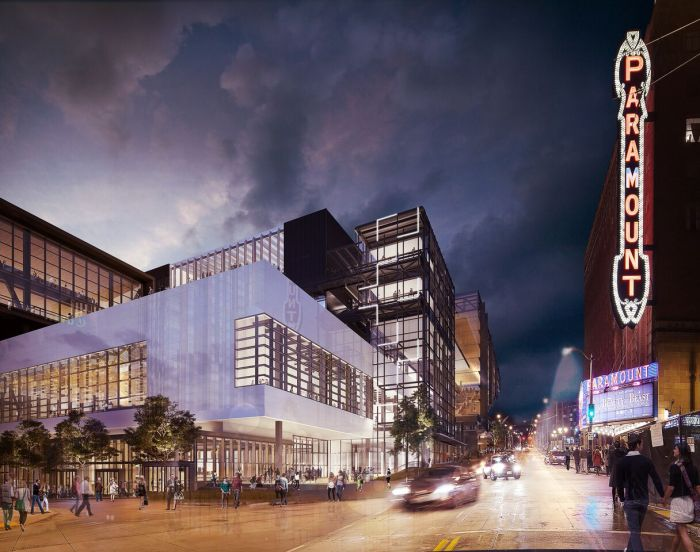 artists rendering of building at night
