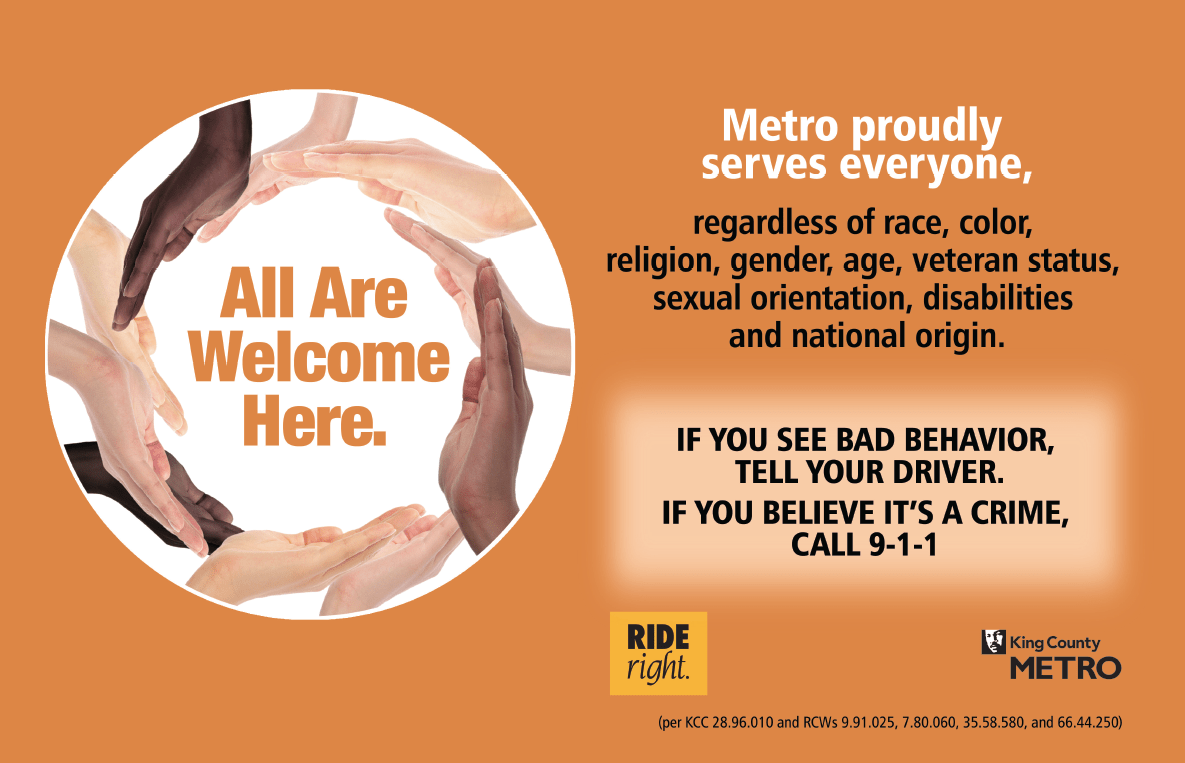 All Are Welcome Here bus placard