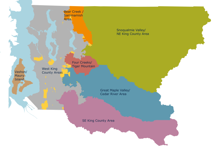 map of unincorporated King County