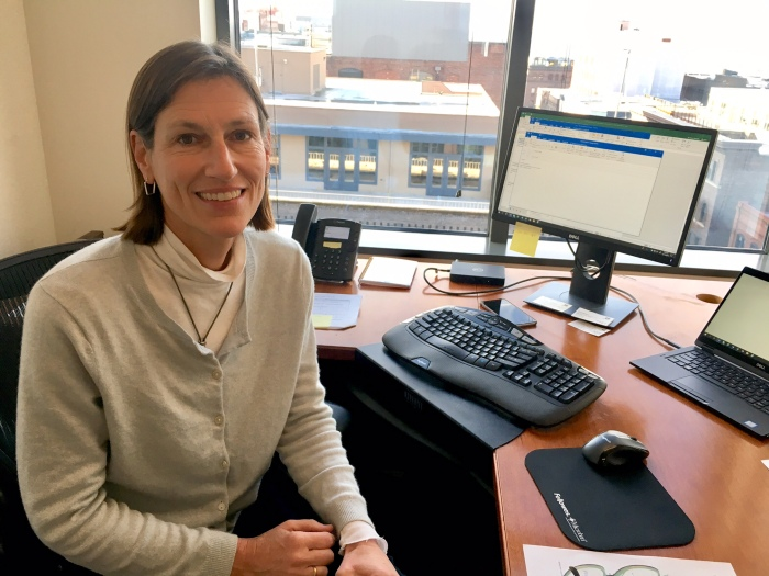 Newly appointed Deputy Director of the Department of Local Services Danielle de Clercq at her desk inside her Seattle office.