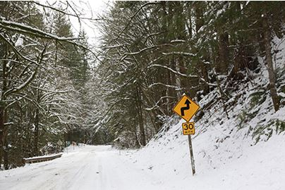 Snow covers a King County road near Enumclaw in February 2019.